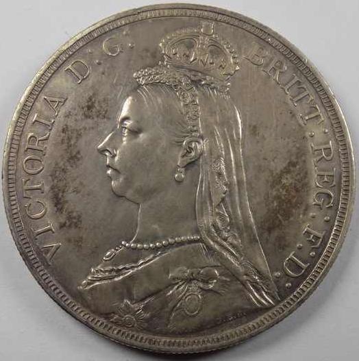 Crown 1887 London Great Britain Coin, Victoria